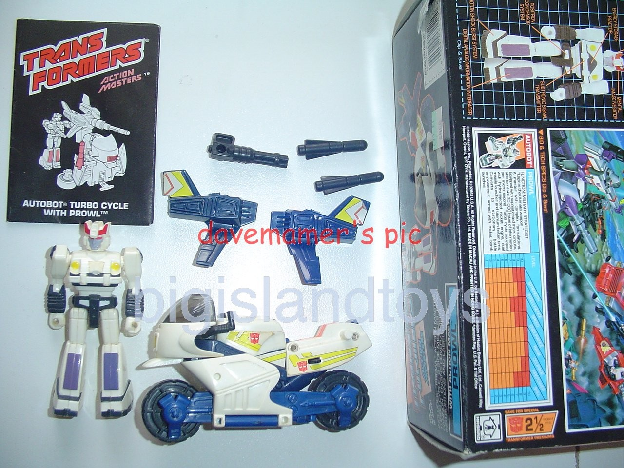 Transformers Generation One G1 1990  Action Masters Prowl with Turbo Cycle